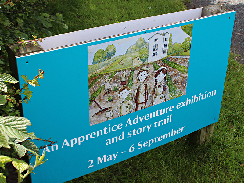 Set of four driveway signs. An interative exhibition for children of all ages. Illustrations by Catherine Jackman.